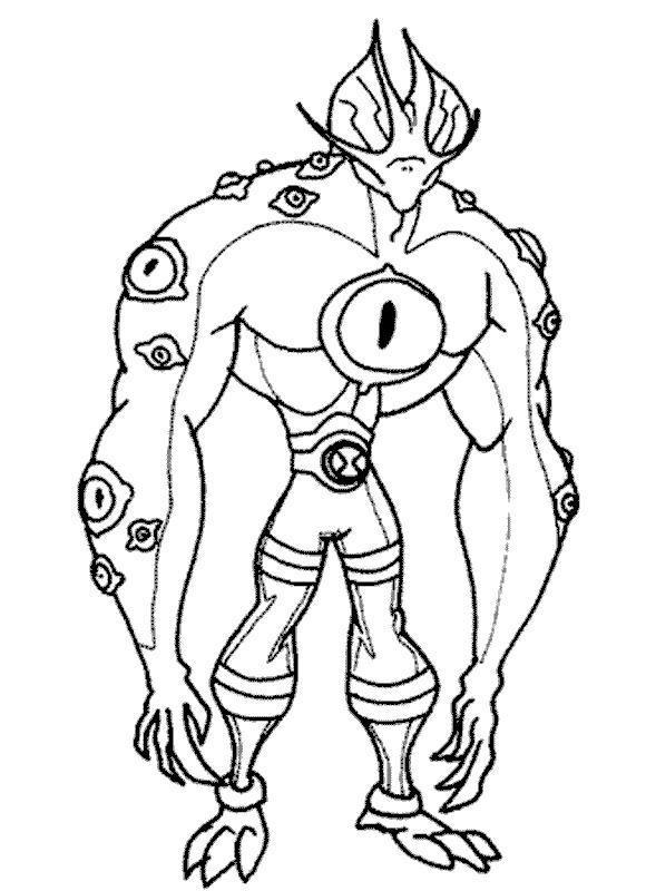 Ben 10 Coloring Pages Eye Guy