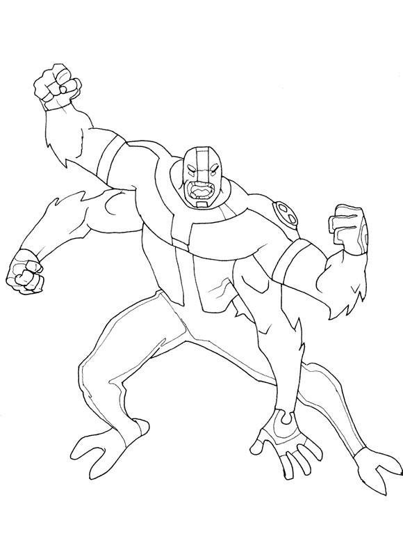 Ben 10 Coloring Pages Four Arms