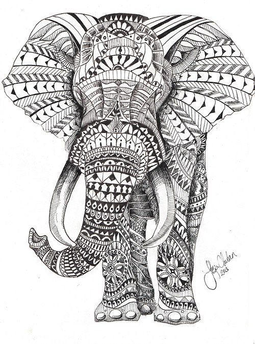Best Abstract Elephant Coloring Pages For Adults