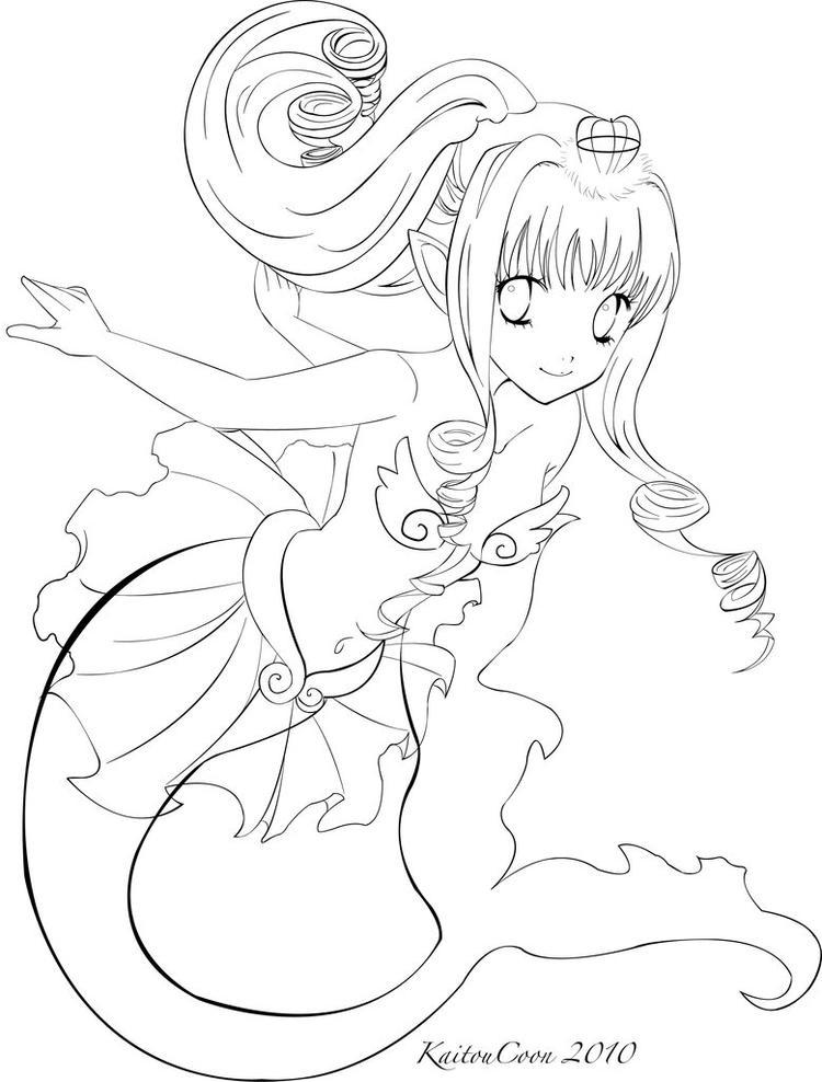 Best Anime Mermaid Coloring Pages