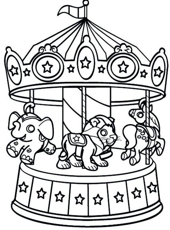 Best Carnival Carousel Coloring Sheets With Various Animals Seats For Riders