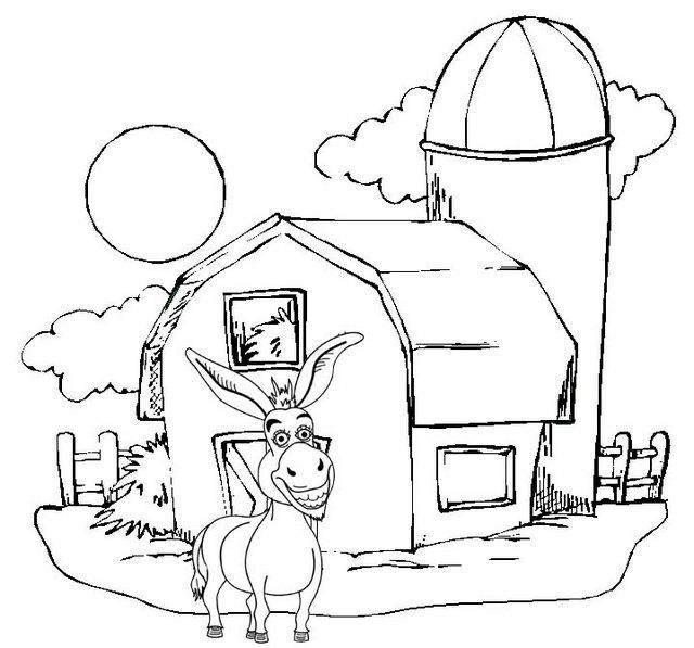 Best Donkey Cartoon In The Front Of Barn Coloring Page