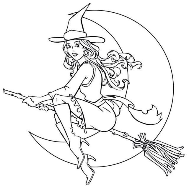 Best Witch Moon Coloring Picture