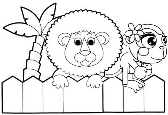 Best Zoo Animal Cartoon Coloring Page