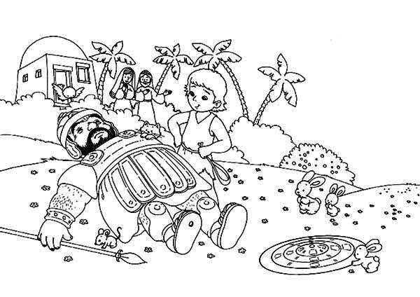 Bible David And Goliath Coloring Pages