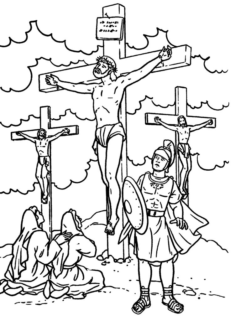 Bible Story Coloring Pages Jesus Crossed