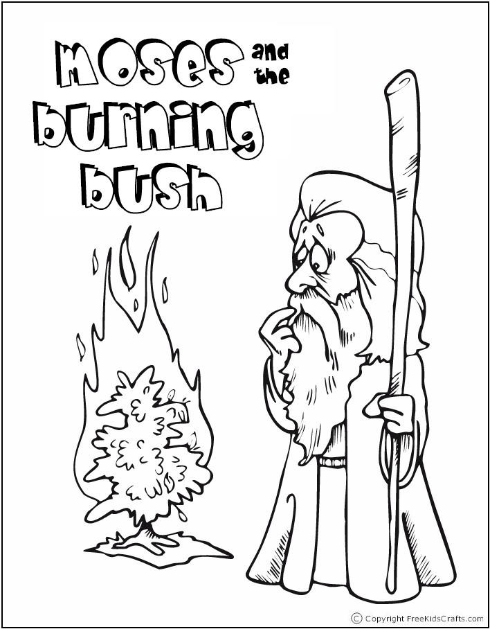 Bible Story Coloring Pages Moses And Burning Bush