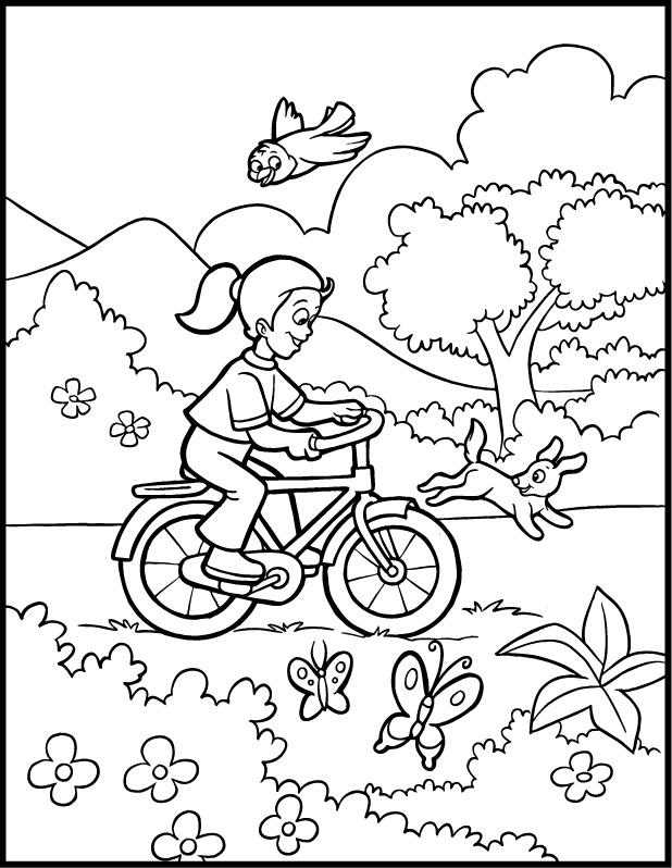 Bicycle Preschool Coloring Pages Spring
