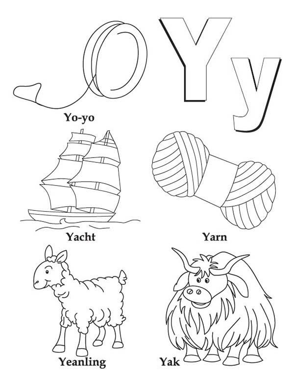 Big And Small Case Letter Y Coloring Page