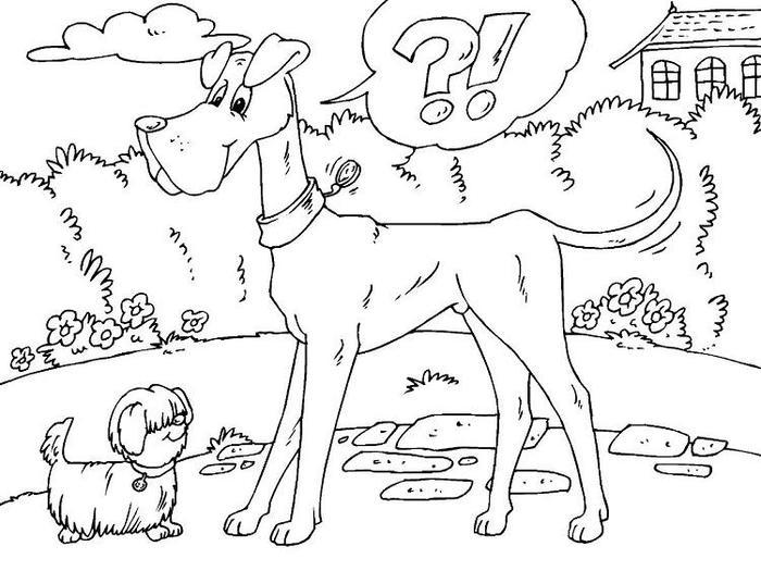 Big And Small Dog Coloring Pages