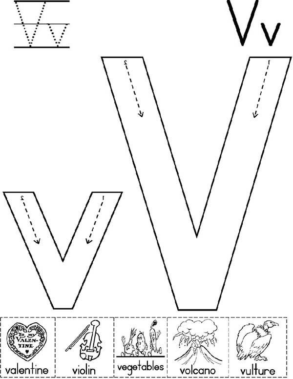 Big Case And Small Case Of Letter V Coloring Page