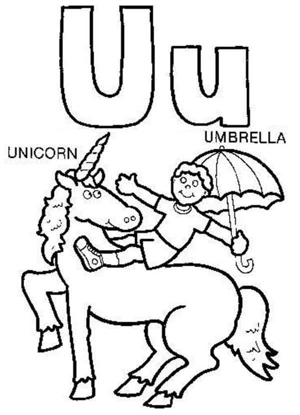 Big Case And Small Letter U For Unicorn Coloring Page