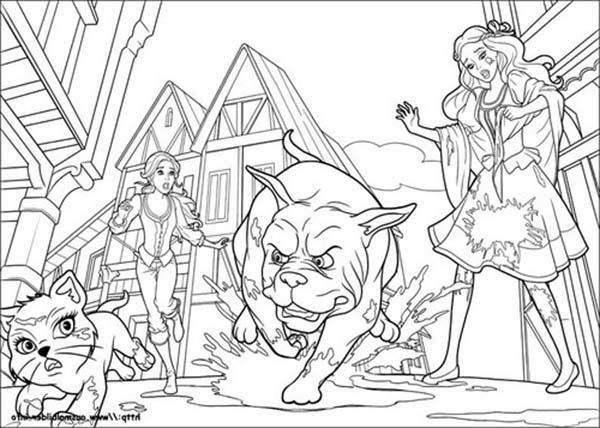 Big Dog Chasing Little Cat In Barbie And Three Musketeers Coloring Pages