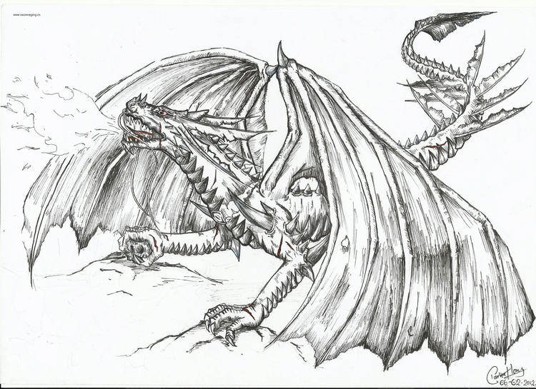 Big Fire Dragon Coloring Pages