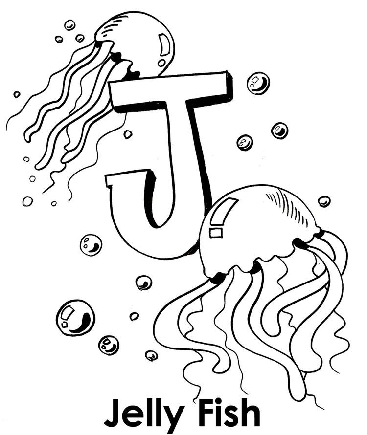 Big J For Jellyfish Coloring Pages