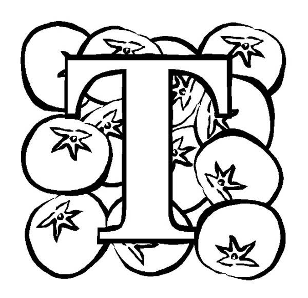 Big Letter T For Tomato Coloring Page