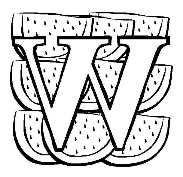 Big Letter W For Watermelon Coloring Page