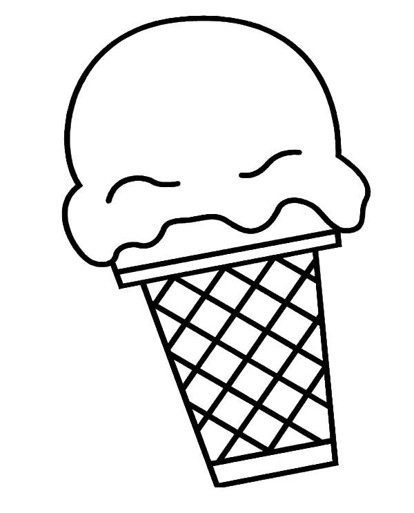 Big Scoop Of Ice Cream Cone Coloring Pages