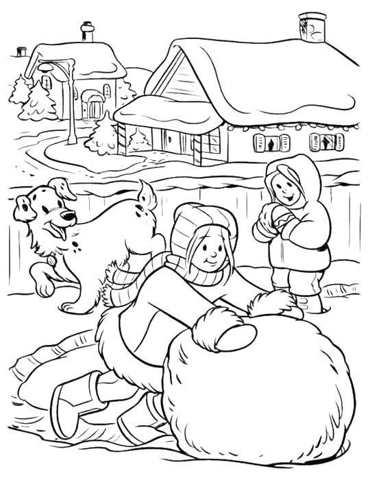 Big Snowball Winter Coloring Pages For Girls