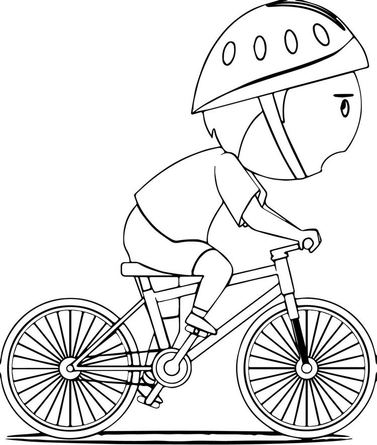 Bike And A Boy Coloring Page