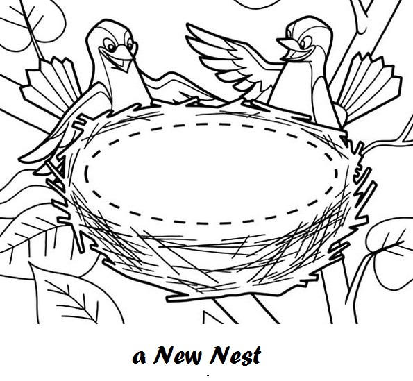 Bird And New Nest Coloring Sheet