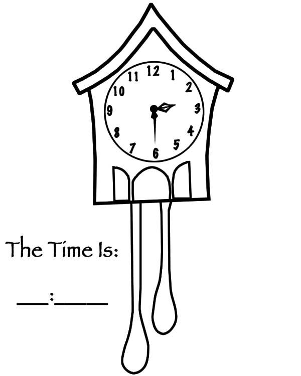Bird House Analog Clock Coloring Pages