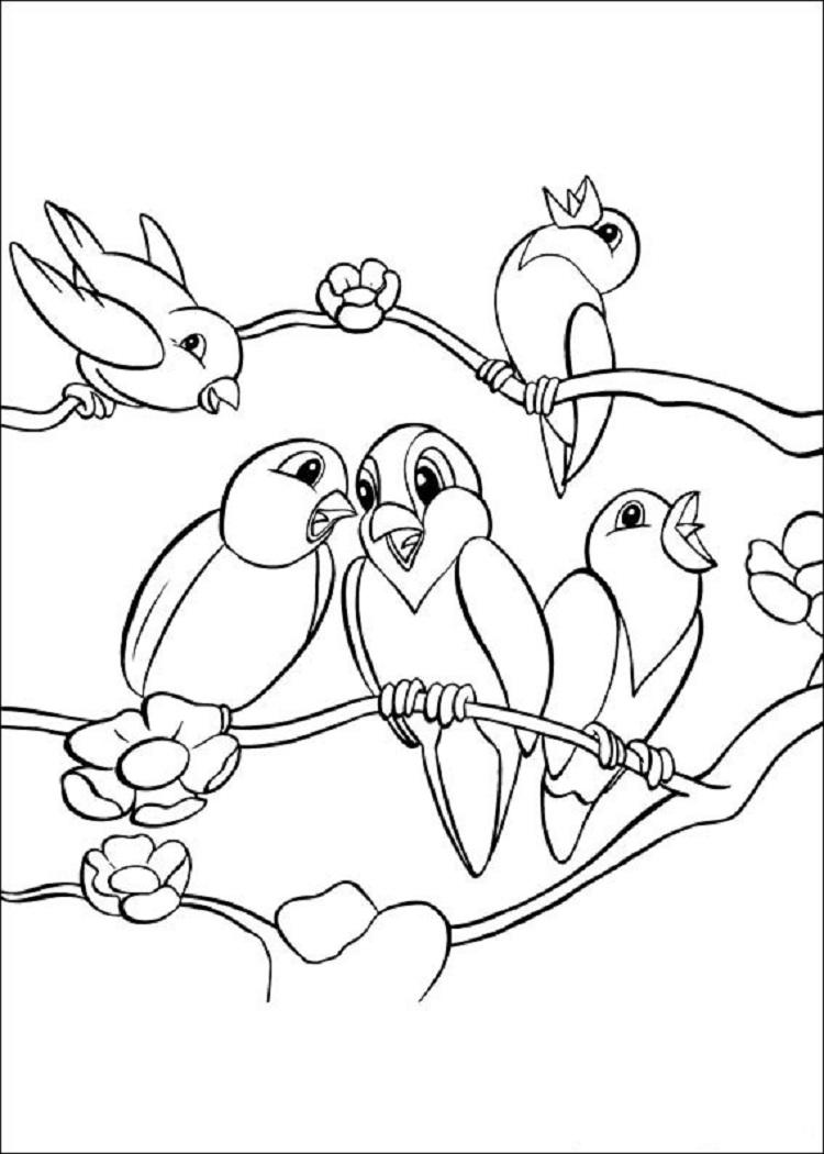 Bird In Tree Coloring Page