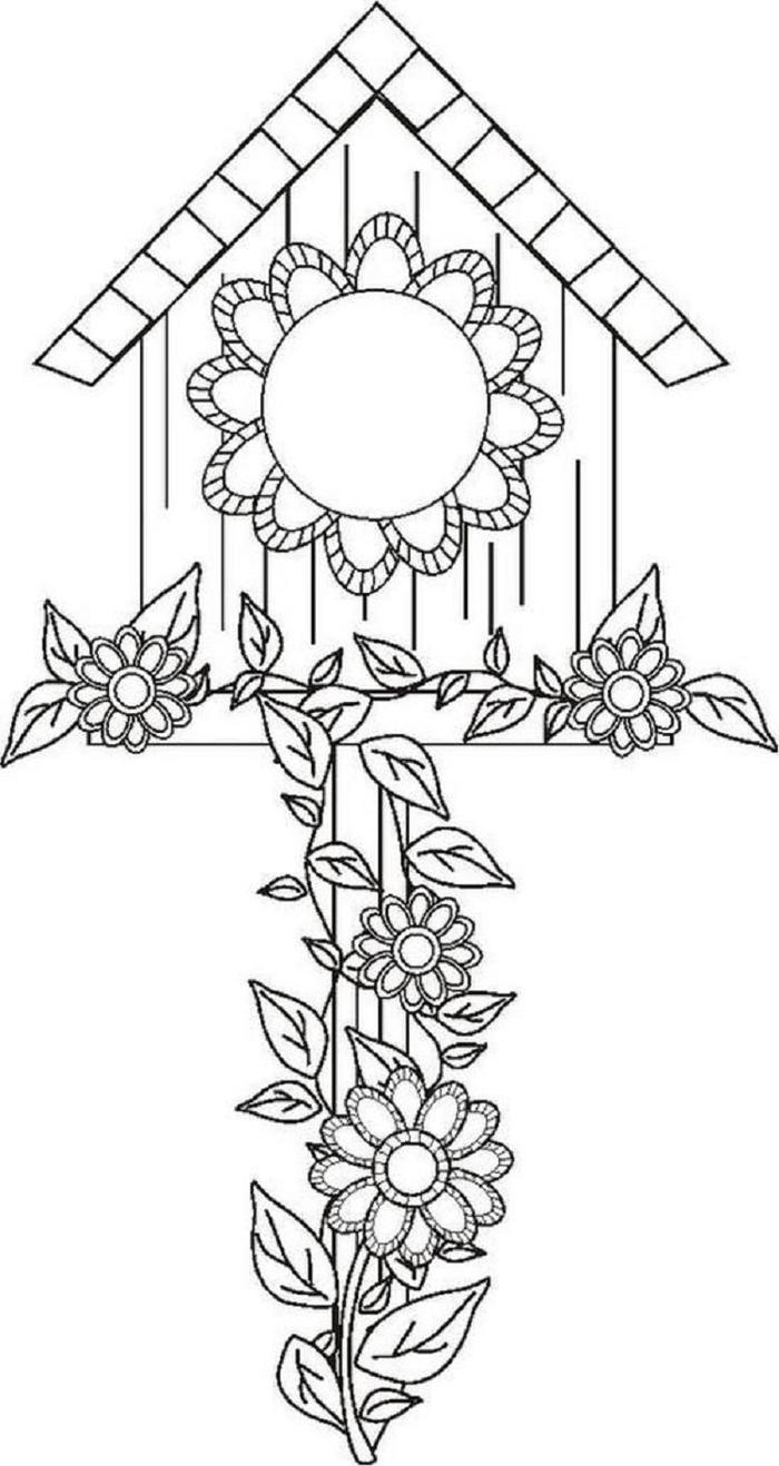 Birdhouse Coloring Pages Free