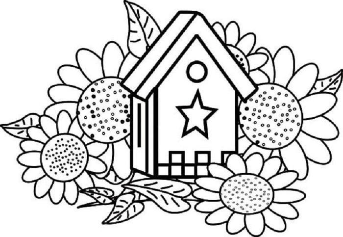 Birdhouse Coloring Pages Sunflower