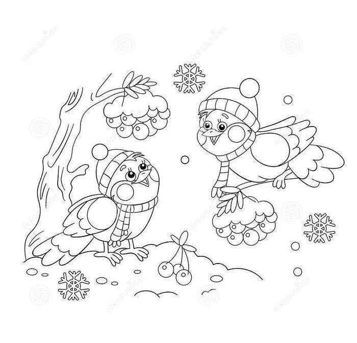 Birds In Winter Coloring Pages