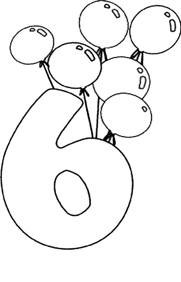 Birthday Balloons And Number 6 Coloring Page