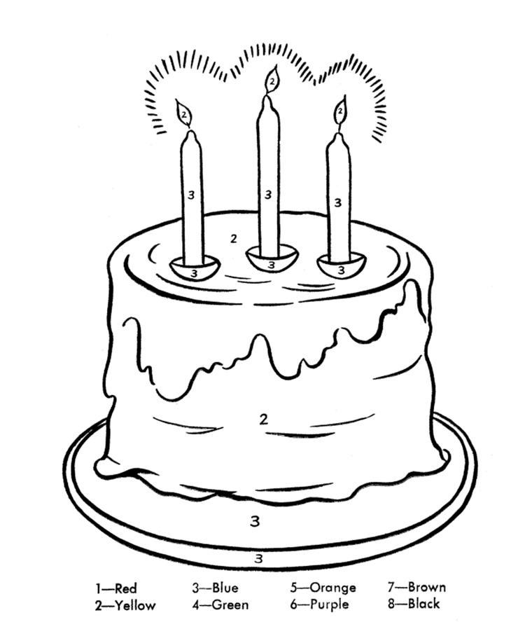 Birthday Cake Coloring Page For Kids