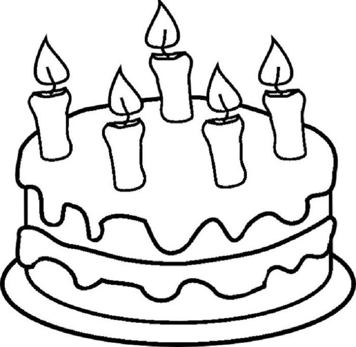 Birthday Cake Coloring Pages For Kindergarten