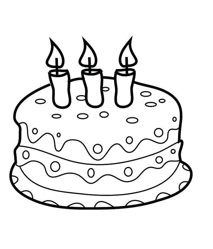 Birthday Cake Coloring Pages For Preschool