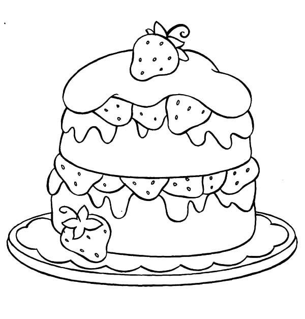 Birthday Cake Coloring Pages Strawberry