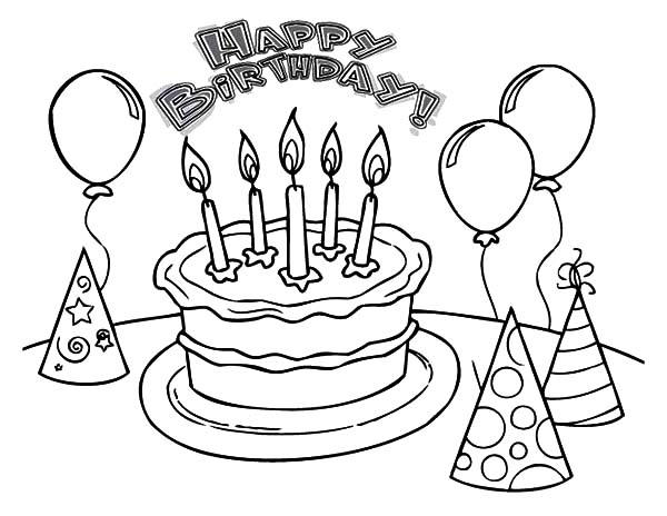 Birthday Cake Coloring Pages With Balloons And Hats Ideasrhdoghousemusic: Coloring Pages Of Birthday Cake At Baymontmadison.com