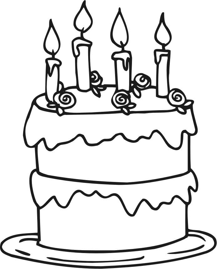Birthday Cake Coloring Pages With Four Candles