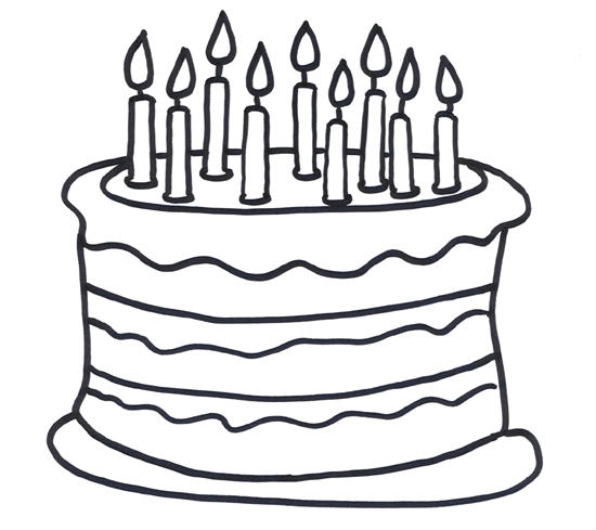 Birthday Cake Coloring Pages With Nine Candles