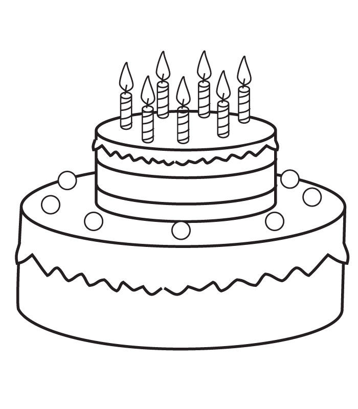 Birthday Cake Coloring Pages With Seven Candles