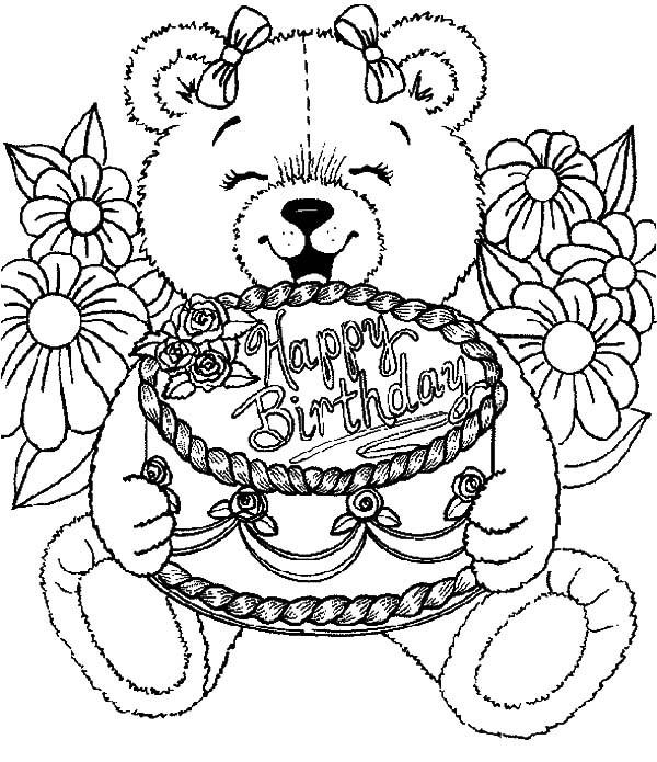 Birthday Cake Coloring Pages With Teddy Bear