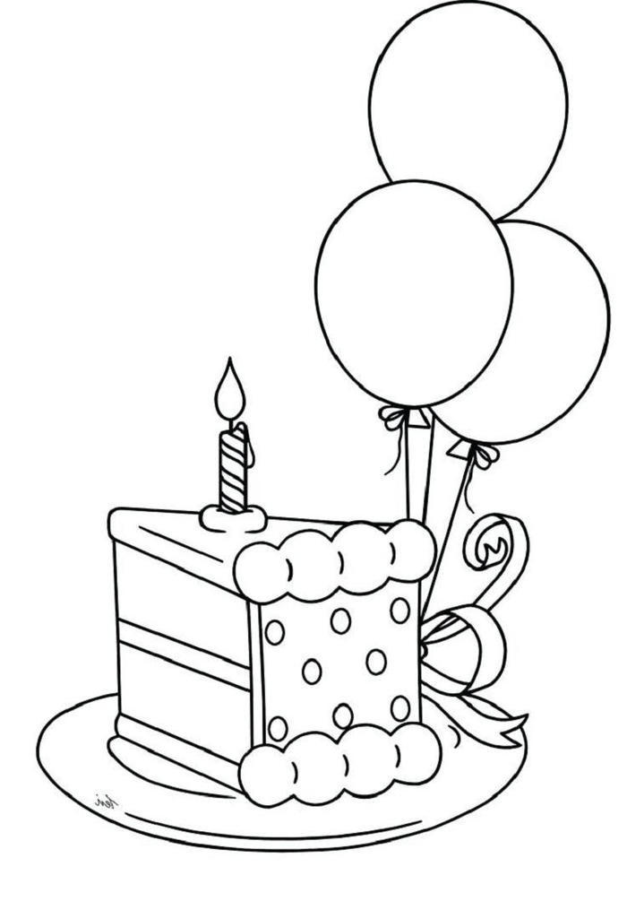 Birthday Cake Pieces Coloring Pages