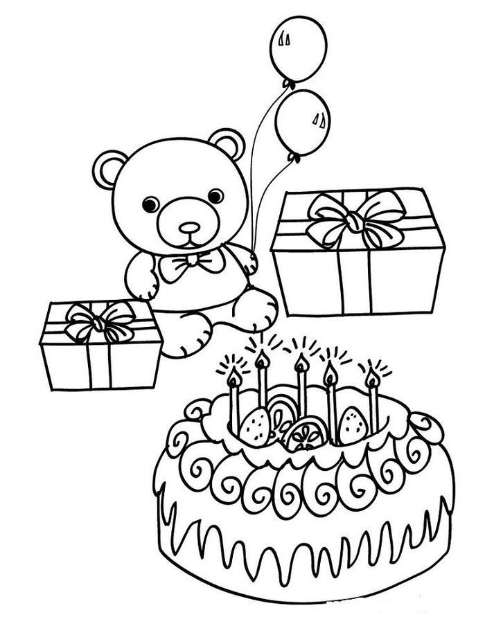 Birthday Cake Teddy Bear Coloring Pages
