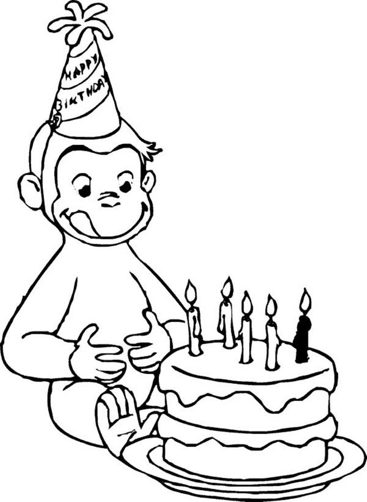 Birthday Curious George Coloring Pages