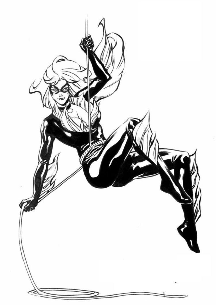 Black cat superhero coloring pages