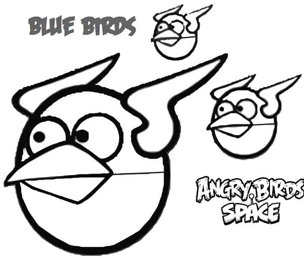 Blue Birds Angry Bird Space Coloring Pages