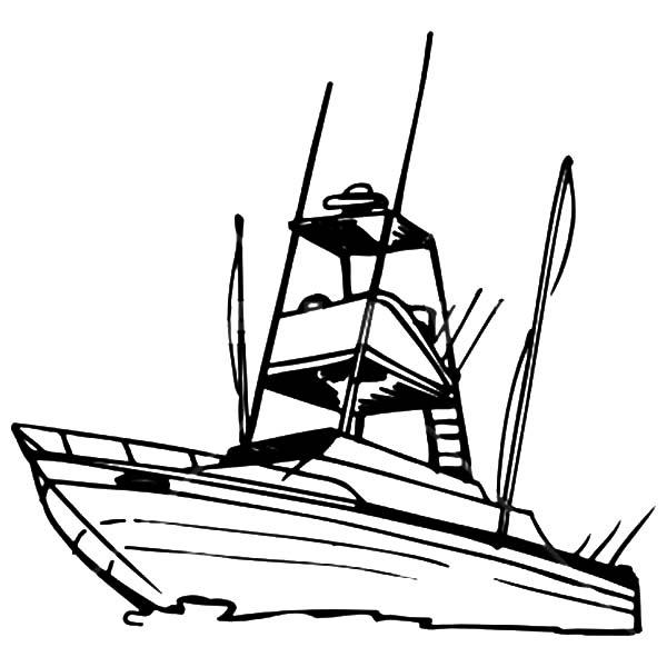 Boat Coloring Pages For Fishing
