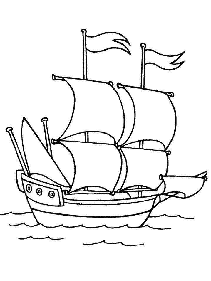 Boat Coloring Pages Sailing Boat