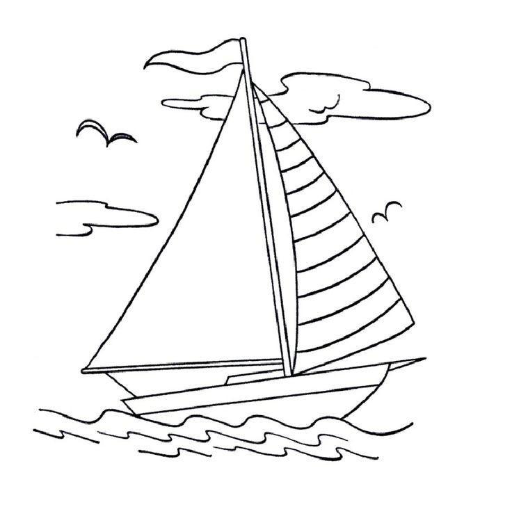 Boat Coloring Pages Sailing On Water