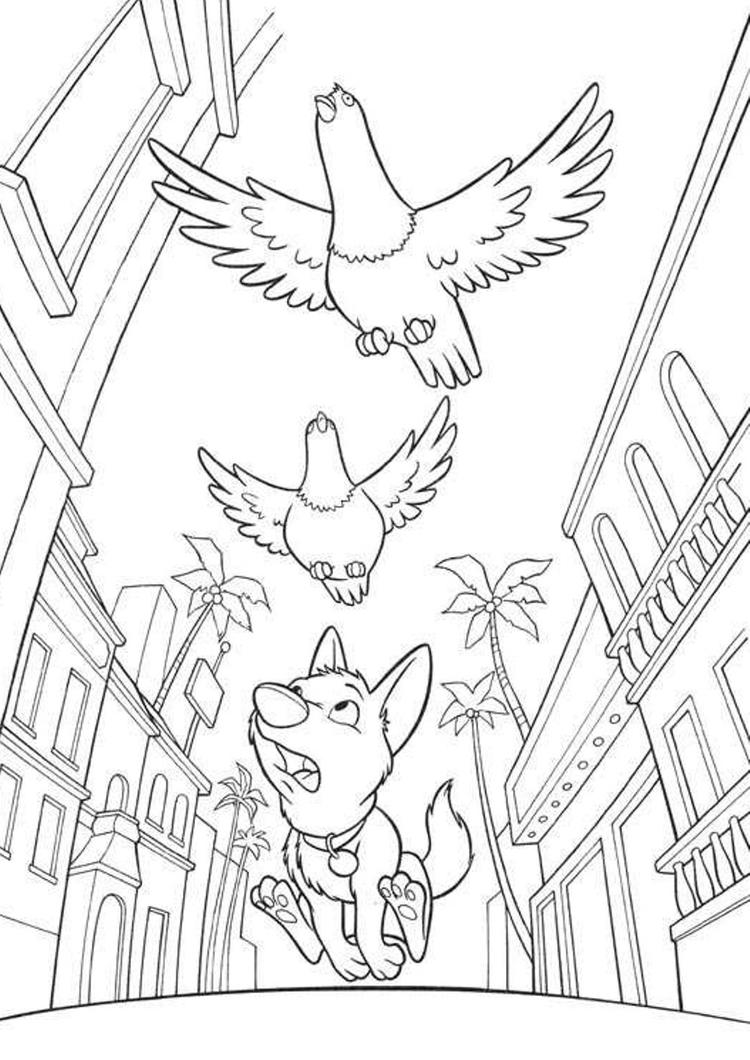 Bolt And Birds Free Printable Cartoon Coloring Pages