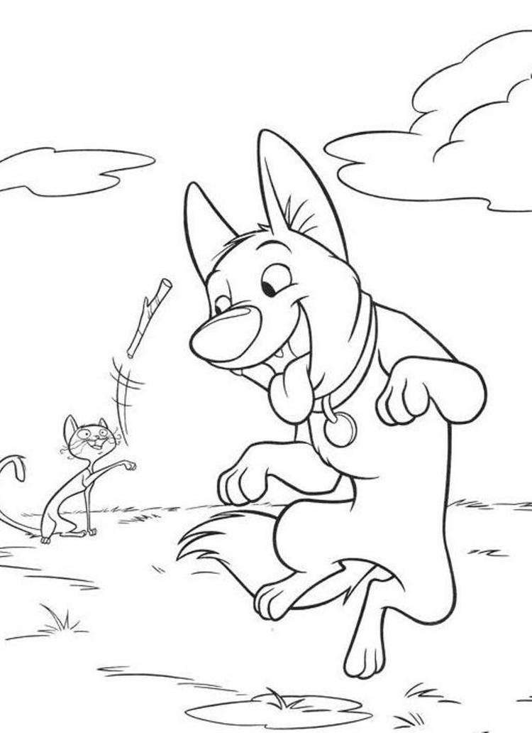 Bolt Having Fun Free Printable Cartoon Coloring Pages